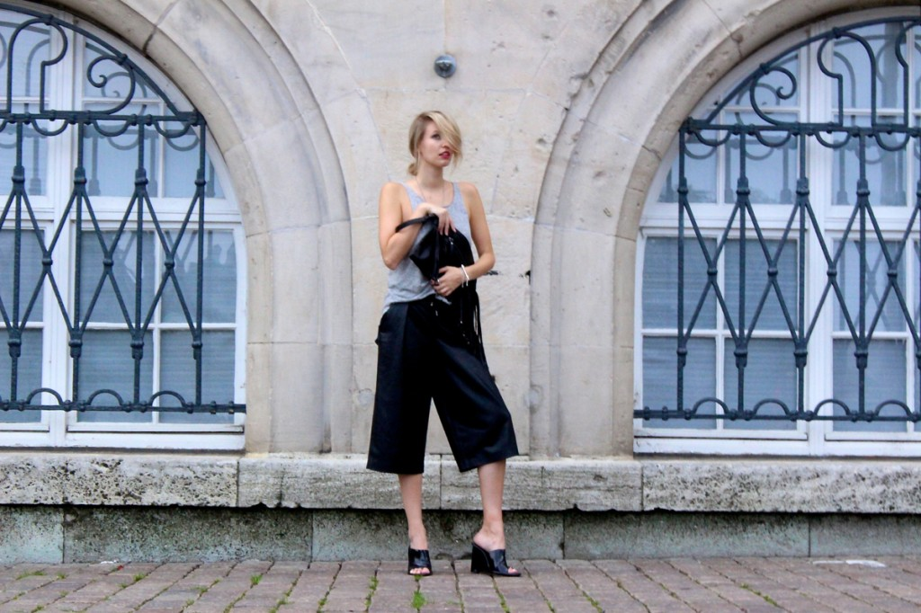 Leather culottes & mules
