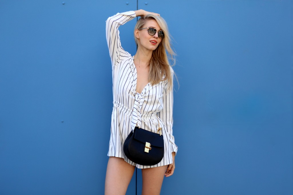 Striped playsuit & Blue walls