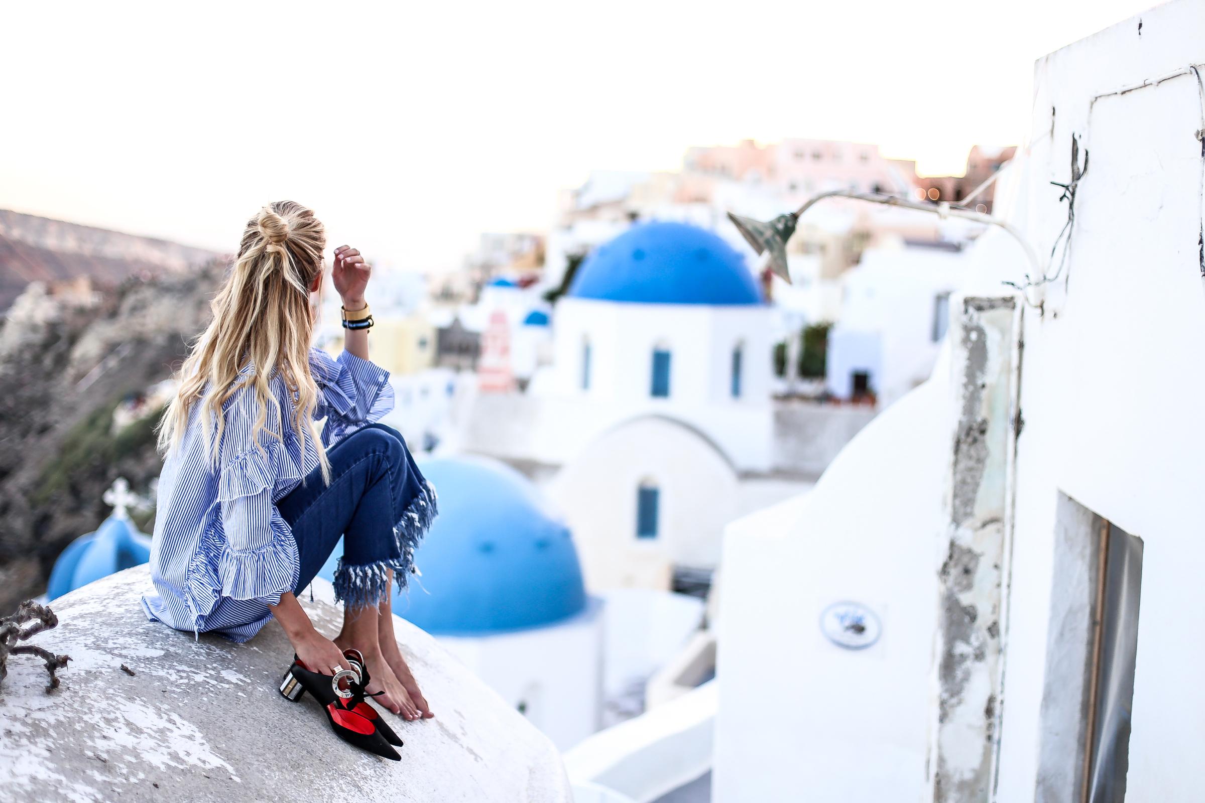 Pointed heels, fringes & stripes | Santorini