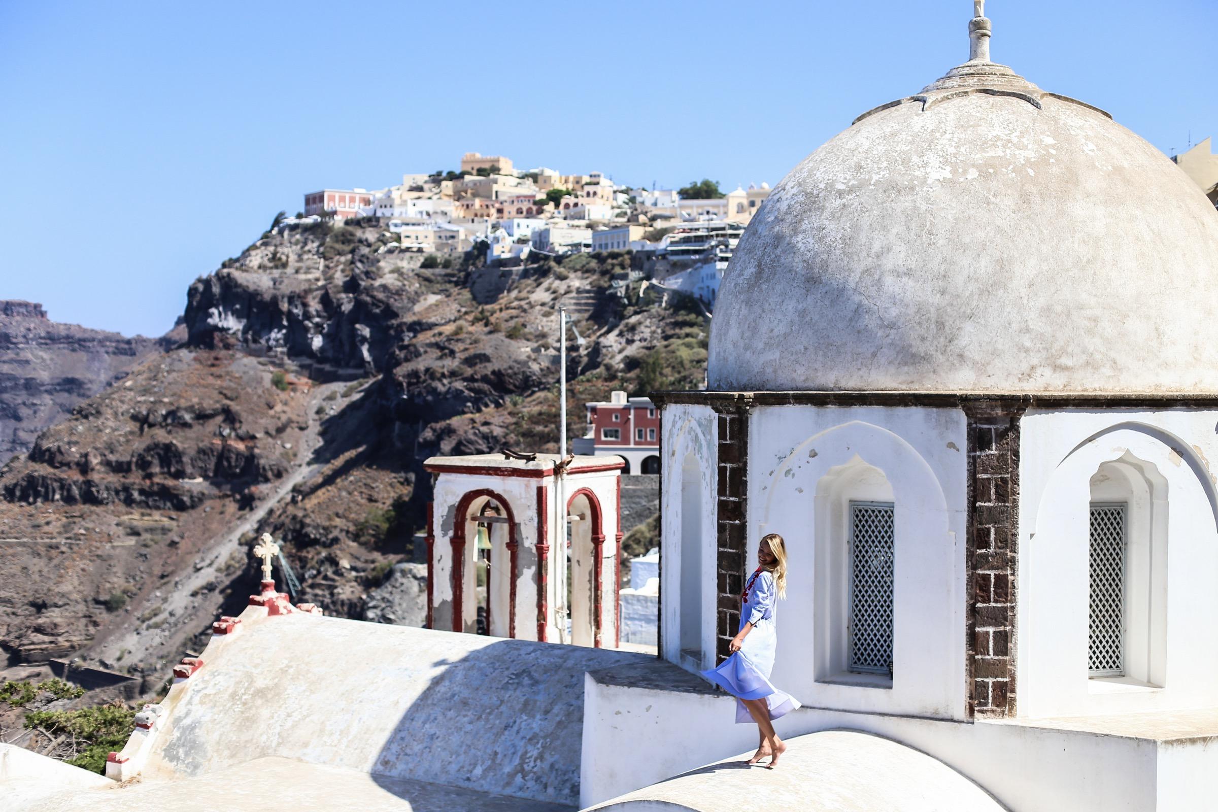 Tory tunic & Aquazzura heels | Santorini