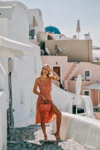 Faithfull dress and red Valentino in Santorini