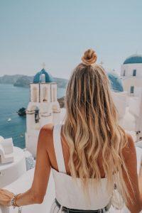 Leonie overlooking Santorini