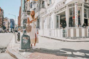 Rejina Pyo bag and polka dots in New York