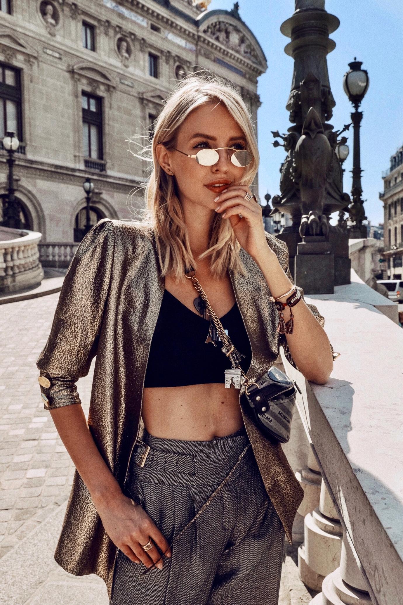 Leonie Hanne metallic grey outfit Paris - Leonie Hanne