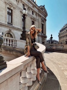 Leonie Hanne metallic outfit Paris