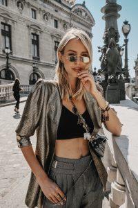 Leonie Hanne mirrored sunglasses Paris