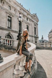Metallic blazer and Balenciaga pumps
