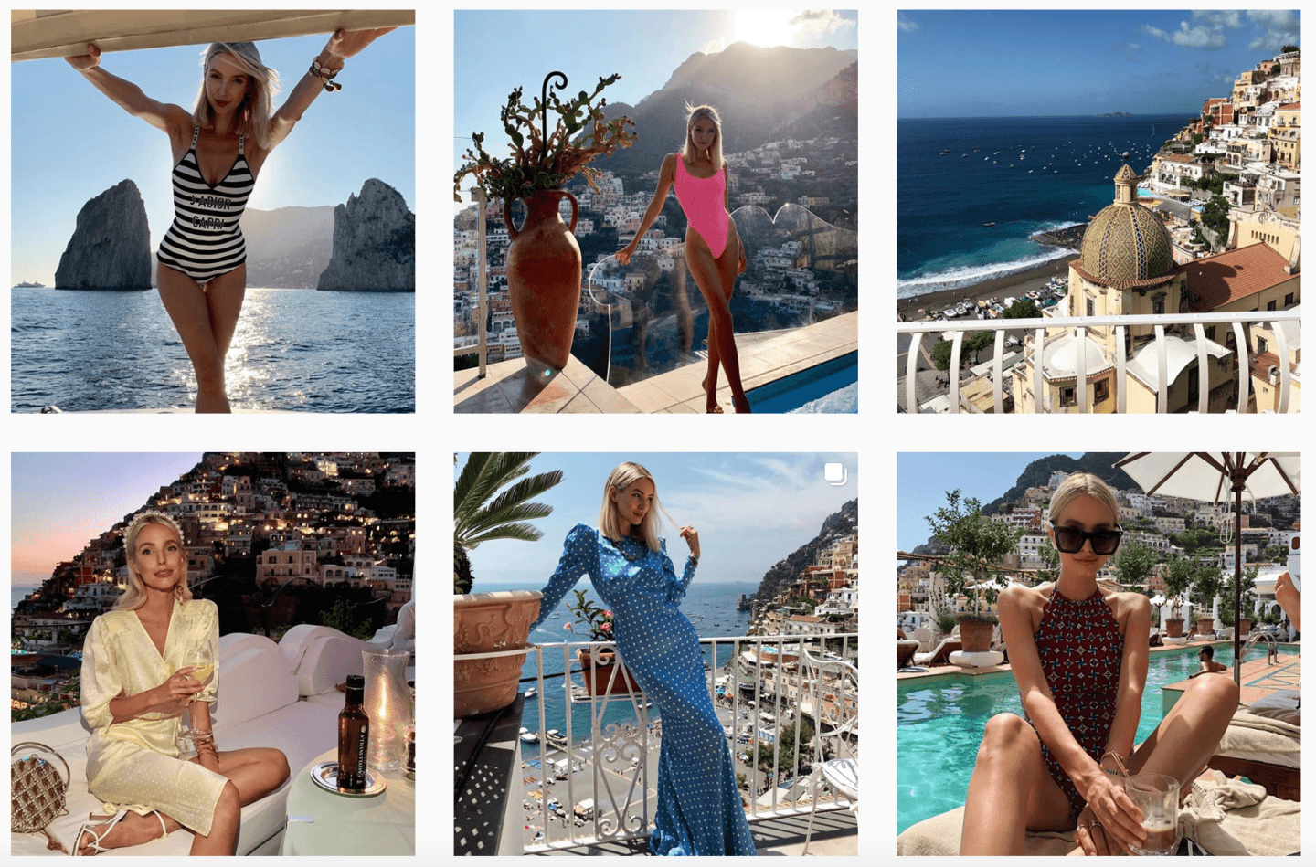 Leonie Hanne Positano outfits collage