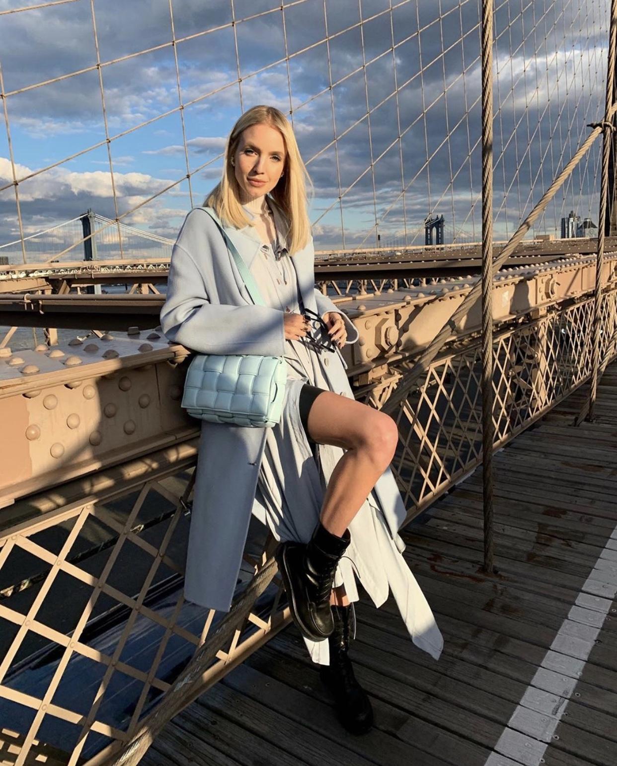 Leonie Hanne Bottega blue Cassette bag in NYC