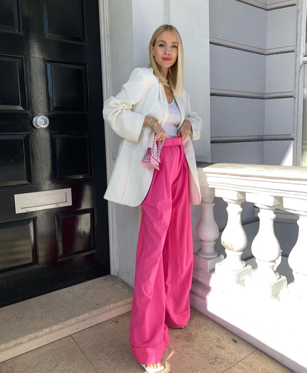 Pink Aje Trousers and White Jacquemus Blazer