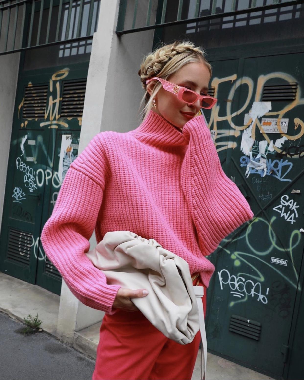 Pink Boss Knit and White Bottega Bag