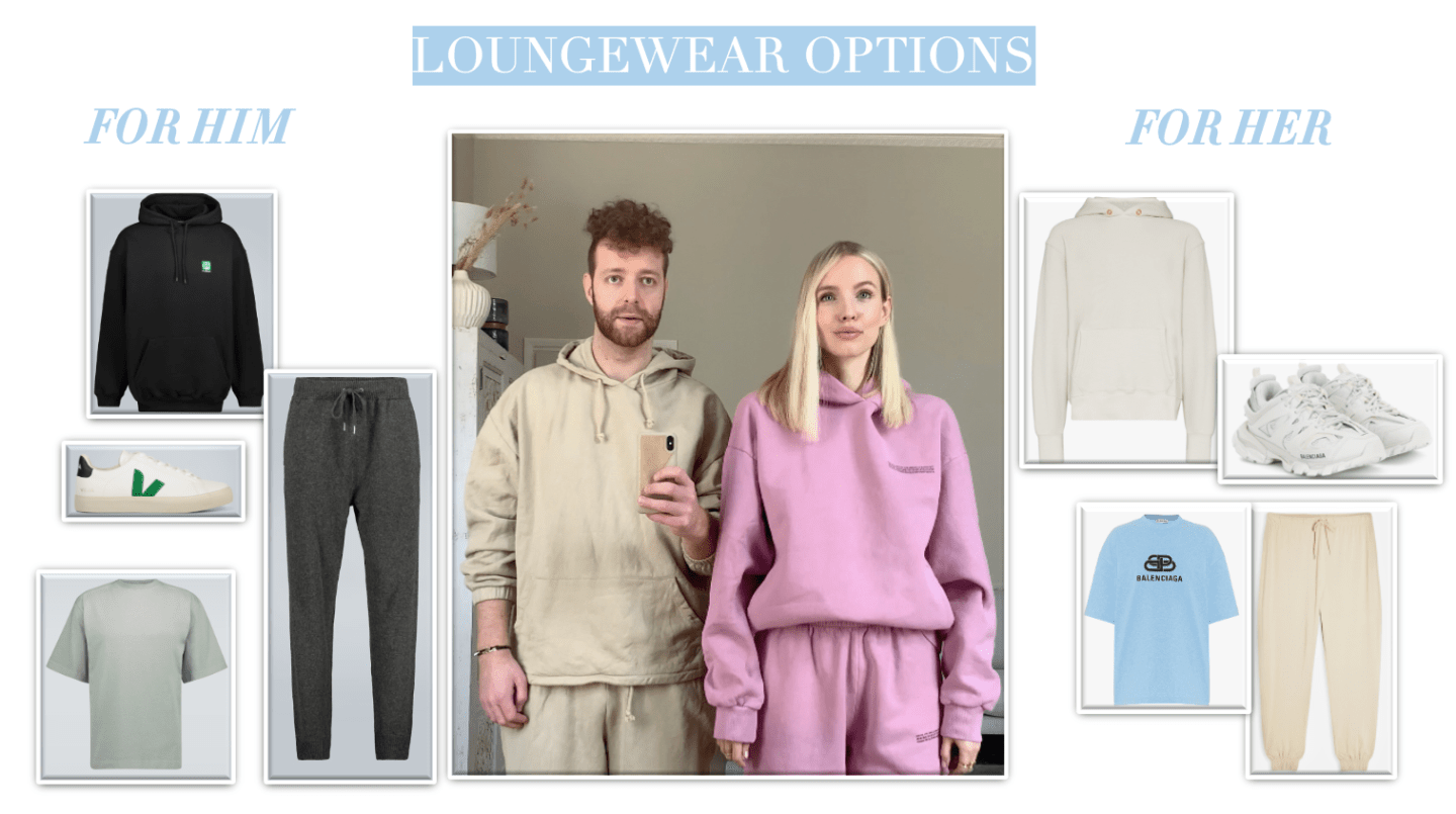 Loungewear options for him and her collage