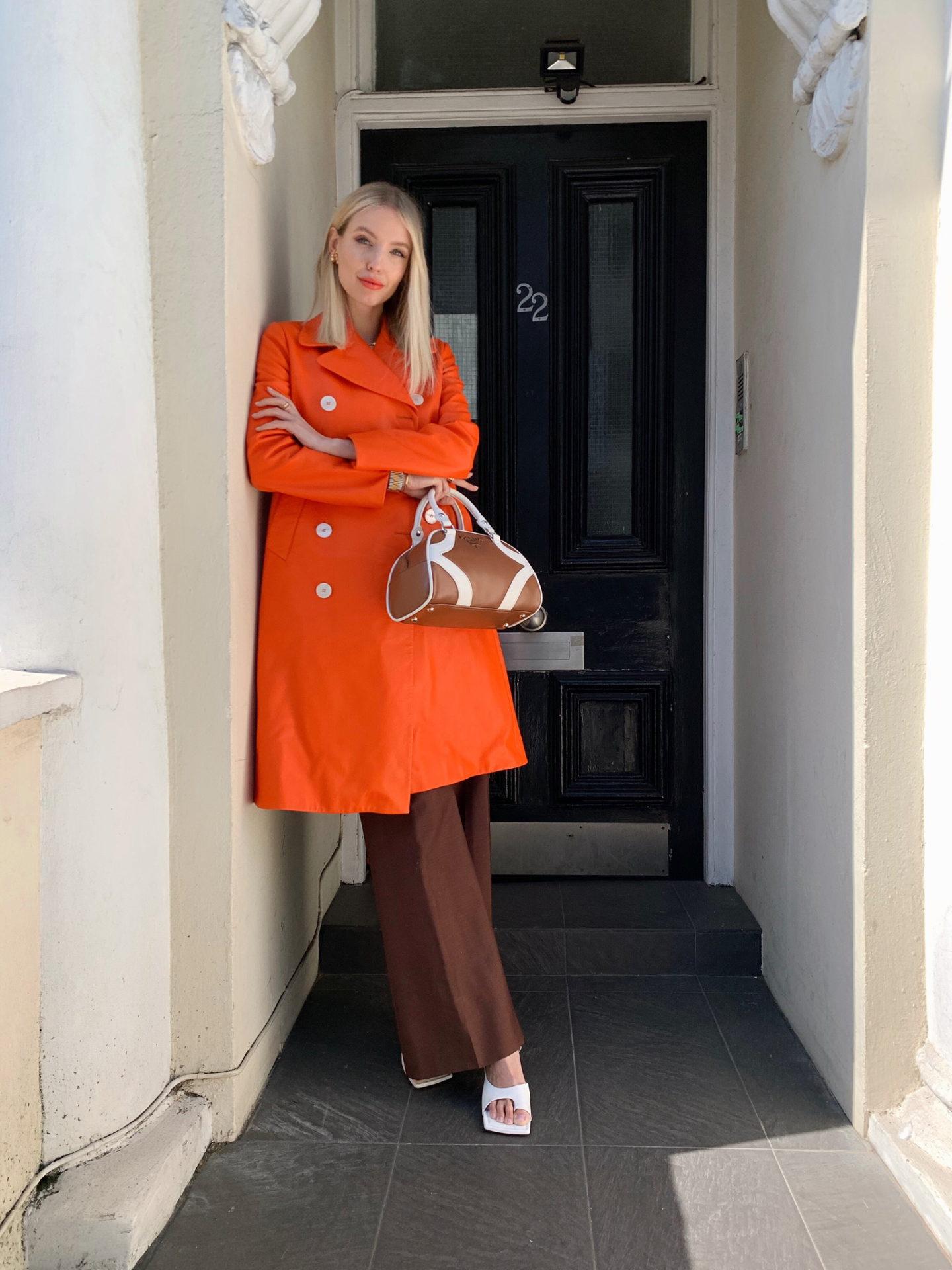 Prada Bowling Bag and Bright Orange
